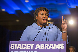 November 7, 2018 - Atlanta, Georgia, U.S. - Georgia gubernatorial candidate STACEY ABRAMS  speaks to her supporters during her election night watch party at the Hyatt Regency in Atlanta. Georgia's gubernatorial race was too close to call, possibly signaling a run-off election. (Credit Image: © Alyssa Pointer/Atlanta Journal-Constitution/TNS via ZUMA Wire)