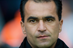 WIGAN, ENGLAND - Sunday, October 18, 2009: Wigan Athletic's manager Roberto Martinez during the Premiership match against Manchester City at the JJB Stadium. (Pic by David Rawcliffe/Propaganda)