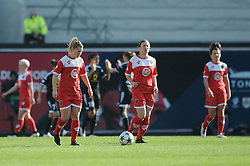 Bristol Academy's Nikki Watts cuts a dejected figure as her side concede a third goal to make it 0-3 - Photo mandatory by-line: Dougie Allward/JMP - Mobile: 07966 386802 - 21/03/2015 - SPORT - Football - Bristol - Ashton Gate Stadium - Bristol Academy v FFC Frankfurt - UEFA Women's Champions League - Quarter Final - First Leg