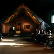 A group of community organizers that deal with violence in Chicago's neighborhoods meet at the Ruatepupuke II Maori traditional meeting house at Chicago Field Museum of Natural History.  The group learned some of the ways of the Maori people of New Zealand.<br /> Photography by Jose More