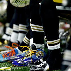 Dec 4, 2016; New Orleans, LA, USA; A detail of New Orleans Saints players wearing custom cleats for various causes  during the third quarter of a game against the Detroit Lions at the Mercedes-Benz Superdome. The Lions defeated the Saints 28-13.  Mandatory Credit: Derick E. Hingle-USA TODAY Sports