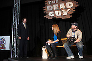 "(from left) Christopher Hahn as Eldon, Amy Askins as Gina and K.L. Storer as Dougie during a dress rehearsal of ""The Dead Guy"" at the Dayton Theatre Guild on Wayne Avenue in Dayton, Thursday, May 29, 2014."