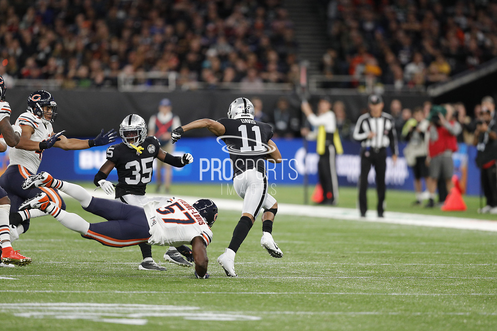 Curtis Riley (S) of the Oakland Raiders Kevin Pierre-Louis (LB) of the Chicago Bears tackle during the International Series match between Chicago Bears and Oakland Raiders at Tottenham Hotspur Stadium, London, United Kingdom on 6 October 2019.
