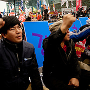 Protestors shout slogans during an anti-G20 protest in Seoul, South Korea, November 11, 2010.