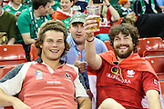 Canadian fans  during the Rugby World Cup Pool D match between Ireland and Canada at Millenium Stadium, Cardiff, Wales on 19 September 2015. Photo by Shane Healey.