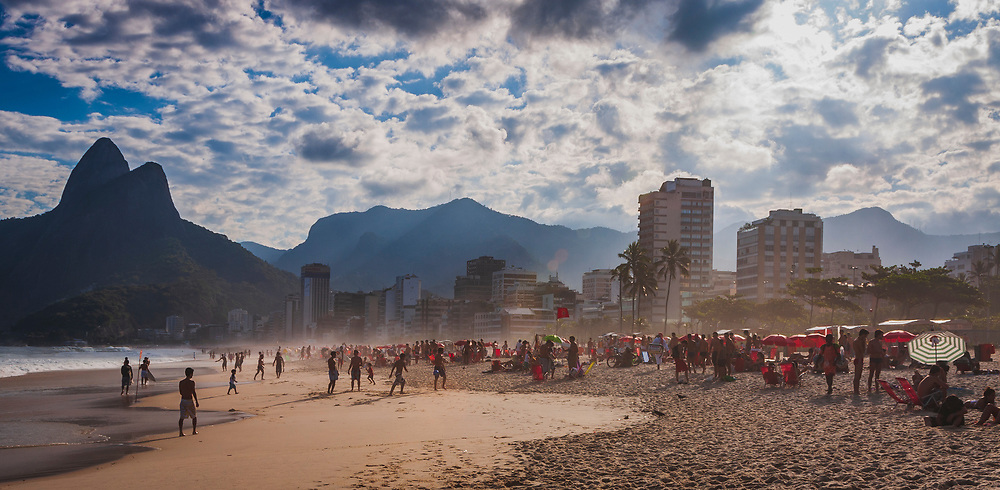 Evening part on the beach by Leblon, Ipanema beach, Rio de Janeiro