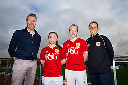 Paige Sawyer and Flo Allen of Bristol City Women's FC pose with manager Willie Kirk and coach Lauren Smith - Mandatory byline: Rogan Thomson/JMP - 11/01/2016 - FOOTBALL - Stoke Gifford Stadium - Bristol, England - Bristol City Women's FC New Signings.