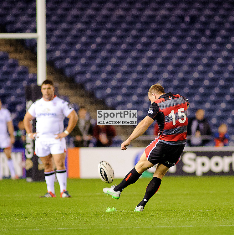 16/10/2015, Murrayfield, Scotland, Greig Tonks kicks a penalty during the Edinburgh Rugby v Ulster Guinness PRO12 game, ......(c) COLIN LUNN | SportPix.org.uk