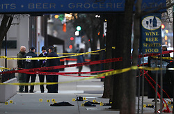 March 23, 2019 - Chicago, IL, USA - Chicago police investigate the scene where an off duty police officer was shot and killed in Chicago on Saturday, March 23, 2019. (Credit Image: © Abel Uribe/Chicago Tribune/TNS via ZUMA Wire)