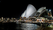 A evening view of the Opera House.