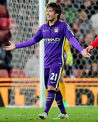 Manchester City's David Silva reacts after fouling Stoke City's Phil Bardsley   - Photo mandatory by-line: Matt McNulty/JMP - Mobile: 07966 386802 - 11/02/2015 - SPORT - Football - Stoke - Britannia Stadium - Stoke City v Manchester City - Barclays Premier League