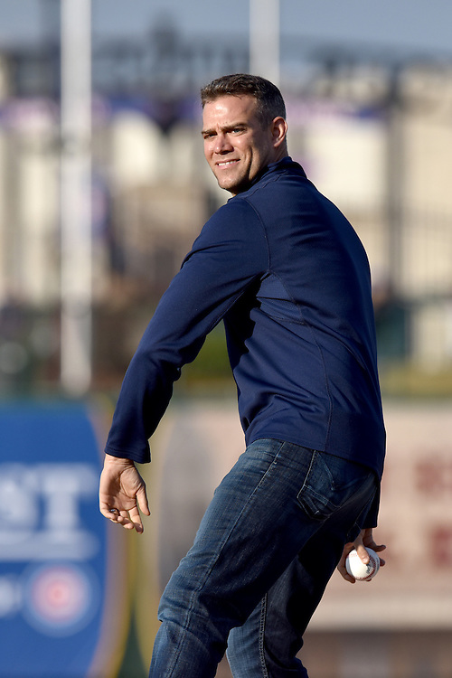 Apr. 9, 2015; Theo Epstein throws out the first pitch at the South Bend Cubs Opening Day 2015, Four Winds Field, South Bend, IN. (Photo by Matt Cashore)