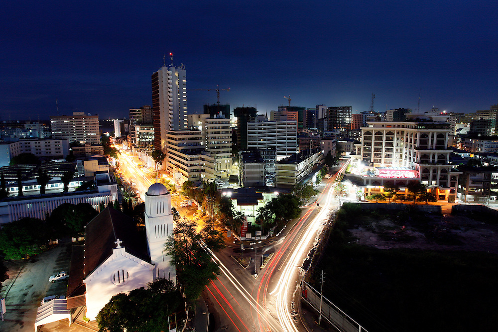 Night view along Maktaba street with St Alban Anglican church in the foreground. Dar es Salaam, Tanzania's port and economic hub. Picture by Zute Lightfoot .+44(0)75145390425