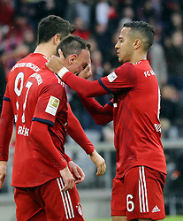 09.03.2019, Allianz Arena, Muenchen, GER, 1. FBL, FC Bayern Muenchen vs VfL Wolfsburg, 25. Runde, im Bild Thiago hält Franck Ribery die Nase // during the German Bundesliga 25th round match between FC Bayern Muenchen and VfL Wolfsburg at the Allianz Arena in Muenchen, Germany on 2019/03/09. EXPA Pictures © 2019, PhotoCredit: EXPA/ SM<br /> <br /> *****ATTENTION - OUT of GER*****