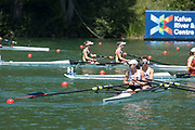 Lucerne, SWITZERLAND, 13th July 2018, Friday USA LW2X., Bow, <br /> Emily SCHMIEG and Mary<br /> JONES, Start Area FISA World Cup series, No.3, Lake Rotsee, Lucerne, © Peter SPURRIER,