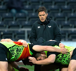 Ospreys' Head Coach Allen Clarke during the pre match warm up<br /> <br /> Photographer Simon King/Replay Images<br /> <br /> Guinness PRO14 Round 19 - Ospreys v Connacht - Friday 6th April 2018 - Liberty Stadium - Swansea<br /> <br /> World Copyright © Replay Images . All rights reserved. info@replayimages.co.uk - http://replayimages.co.uk