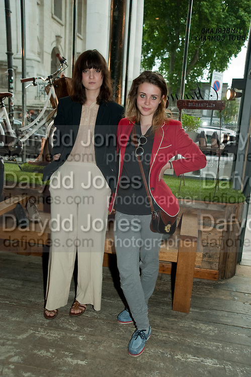 IRINA LAZAREANU; BILLIE JD PORTER, Design Your Own Timberland breakfast and Autumn/ Winter 2011 preview. Timberland. 1 Fournier St. London. Followed by an art tour by Julia Royce. 8 June 2011. <br /> <br />  , -DO NOT ARCHIVE-© Copyright Photograph by Dafydd Jones. 248 Clapham Rd. London SW9 0PZ. Tel 0207 820 0771. www.dafjones.com.