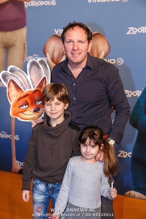 NLD/Amsterdam/20160213 - Premiere Zootropolis, Robert Leroy en kinderen