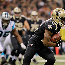 Dec 6, 2015; New Orleans, LA, USA; New Orleans Saints wide receiver Brandin Cooks (10) runs after a catch against the Carolina Panthers during the first half of a game at Mercedes-Benz Superdome. Mandatory Credit: Derick E. Hingle-USA TODAY Sports