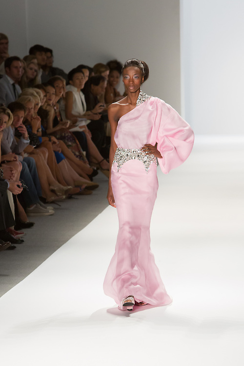 Pink one shoulder gown. By Zang Toi, shown at his Spring 20132 Fashion Week show in New York.