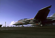 """An F-14 Tomcat from VF-102 """"Diamondbacks"""" based onboard USS-America (CV-66) is launched down Catapault 4"""