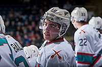 KELOWNA, CANADA - JANUARY 30: Dillon Dube #19 of Kelowna Rockets stands on the bench against the Victoria Royals on January 30, 2016 at Prospera Place in Kelowna, British Columbia, Canada.  (Photo by Marissa Baecker/Shoot the Breeze)  *** Local Caption *** Dillon Dube;