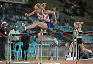 JOHANNESBURG, SOUTH AFRICA - MARCH 22: Claudia Heunis clears the last hurdle in the women's 100m hurdles during the ASA Speed Series 4 at Germiston Stadium on March 22, 2017 in Johannesburg, South Africa. (Photo by Roger Sedres/ImageSA)