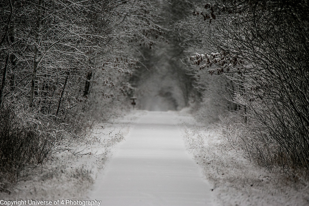 The first snow on the munger trail in Sandstone Minnesota.