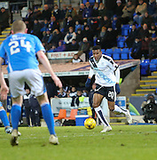 Dundee&rsquo;s Riccardo Calder runs at the St Johnstone defence - St Johnstone v Dundee, Ladbrokes Scottish Premiership at McDiarmid Park<br /> <br />  - &copy; David Young - www.davidyoungphoto.co.uk - email: davidyoungphoto@gmail.com