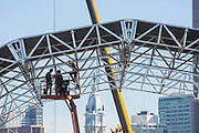 Philadelphia, Pennsylvania - September 17, 2015: Workers fix the roof to the stage's altar Thursday September 7, 2015 inside Eakins Oval in Philadelphia.<br /> <br /> Scott Mirkin's company ESM is heading the production of The World Meeting Of Families and Pope Francis's visit to Philadelphia this Fall. The events will take place along the Benjamin Franklin Parkway.<br /> <br /> CREDIT: Matt Roth for The New York Times<br /> Assignment ID: 30179397A