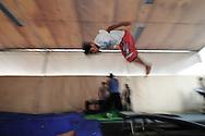 Ángel Trujillo doing somersault at  Ángeles D1 school
