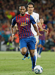 17.08.2011, Camp Nou, Barcelona, ESP, Supercup 2011, FC Barcelona vs Real Madrid, im Bild FC Barcelona's Eric Abidal (f) and Real Madrid's Kaka during Spanish Supercup 2nd match.August 17,2011. EXPA Pictures © 2011, PhotoCredit: EXPA/ Alterphotos/ Acero +++++ ATTENTION - OUT OF SPAIN / ESP +++++