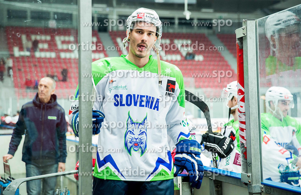 Ziga Pavlin of Slovenia during ice-hockey friendly match between National teams of Slovenia and Japan, on April 10, 2015 in Arena Podmezakla, Jesenice, Slovenia. Photo by Vid Ponikvar / Sportida