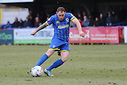 Barry Fuller (Captain) of AFC Wimbledon shoots from outside the box during the Sky Bet League 2 match between AFC Wimbledon and Accrington Stanley at the Cherry Red Records Stadium, Kingston, England on 5 March 2016. Photo by Stuart Butcher.