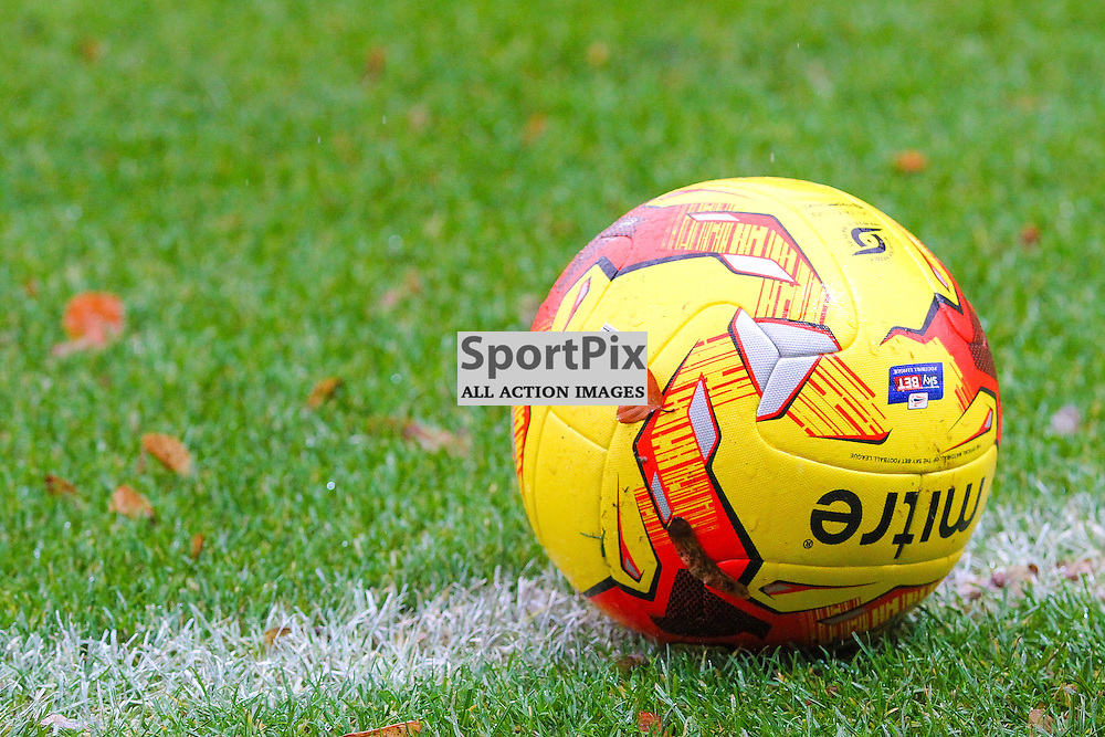 The match ball during Rochdale v Wigan Athletic , Sky Bet League One Match, 14 November 2015<br /> Picture by Jackie Meredith/SportPix.org.uk