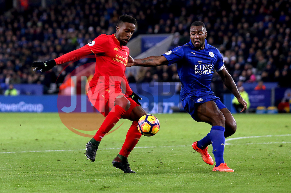 Divock Origi of Liverpool takes on Wes Morgan of Leicester City - Mandatory by-line: Robbie Stephenson/JMP - 27/02/2017 - FOOTBALL - King Power Stadium - Leicester, England - Leicester City v Liverpool - Premier League