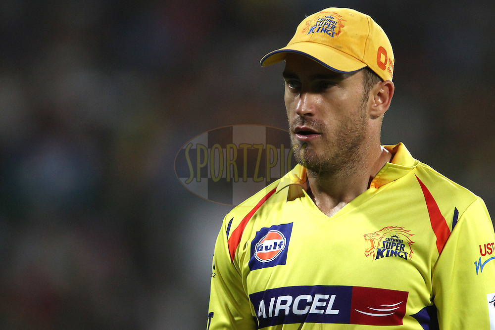 Faf du Plessis of The Chennai Super Kings during match 26 of the Pepsi Indian Premier League Season 2014 between the Delhi Daredevils and the Chennai Super Kings held at the Feroze Shah Kotla cricket stadium, Delhi, India on the 5th May  2014<br /> <br /> Photo by Shaun Roy / IPL / SPORTZPICS<br /> <br /> <br /> <br /> Image use subject to terms and conditions which can be found here:  http://sportzpics.photoshelter.com/gallery/Pepsi-IPL-Image-terms-and-conditions/G00004VW1IVJ.gB0/C0000TScjhBM6ikg