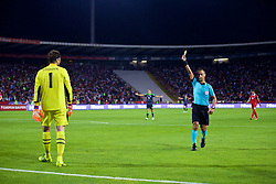 BELGRADE, SERBIA - Sunday, June 11, 2017: Serbia's goalkeeper Vladimir Stojkovic is shown a yellow card during the 2018 FIFA World Cup Qualifying Group D match between Wales and Serbia at the Red Star Stadium. (Pic by David Rawcliffe/Propaganda)