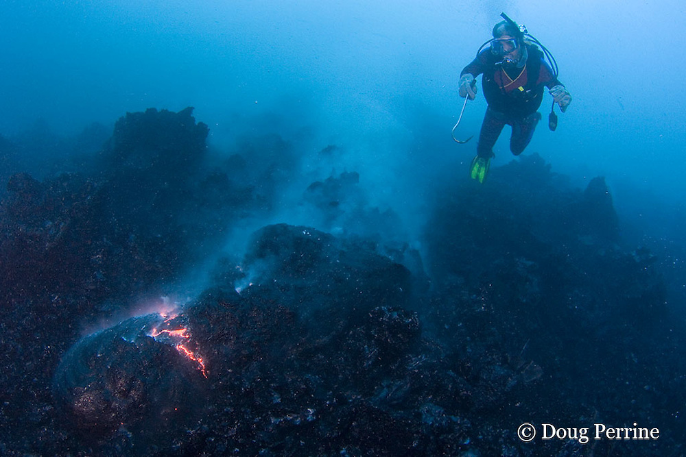 diver Bud Turpin and erupting pillow lava at ocean entry of Kilauea Volcano, Hawaii Island ( the Big Island ), <br /> Hawaii, U.S.A. ( Central Pacific Ocean ) MR 381