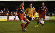 Andy Bond plays the short ball during the Sky Bet League 2 match between Crawley Town and Newport County at the Checkatrade.com Stadium, Crawley, England on 1 March 2016. Photo by Michael Hulf.