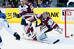 Edgars Masalskis, goalie of Latvia watches the puck going by net during ice-hockey match between Latvia and Finland of Group D of IIHF 2011 World Championship Slovakia, on May 2, 2011 in Orange Arena, Bratislava, Slovakia. (Photo by Matic Klansek Velej / Sportida)