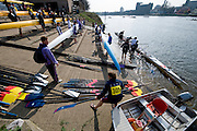 Chiswick; Great Britain; Crews boating from Tideway Scullers School Boat house, 2009 Head of the River Race, race Mortlake to Putney,  Sat 21.03.2009. [Mandatory Credit. Peter Spurrier/Intersport Images]