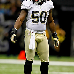 September 23, 2012; New Orleans, LA, USA; New Orleans Saints linebacker Curtis Lofton (50) against the Kansas City Chiefs during the second half of a game at the Mercedes-Benz Superdome. The Chiefs defeated the Saints 27-24 in overtime. Mandatory Credit: Derick E. Hingle-US PRESSWIRE