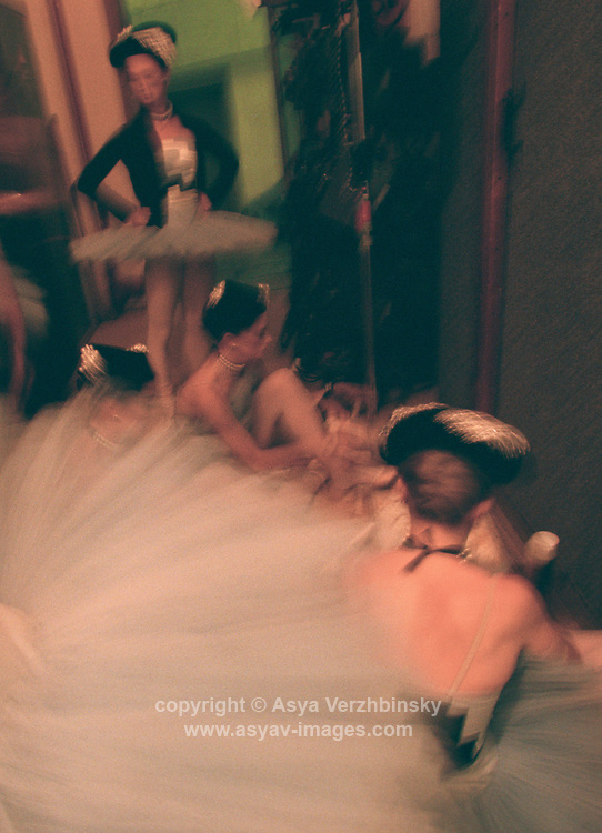 Royal Ballet dancers backstage at the Mariinsky Theatre before Scenes de Ballet,St. Petersburg, Russia