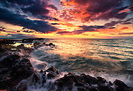 Sunset sky with views of Molokini, Kahoolawe, Lanai and streaming waves from Makena, Wailea, Maui, Hawaii