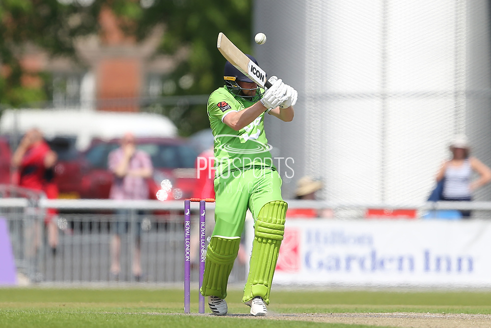 Bouncer for Lanc's Karl Brown during the Specsavers County Champ Div 1 match between Lancashire County Cricket Club and Durham County Cricket Club at the Emirates, Old Trafford, Manchester, United Kingdom on 20 May 2018. Picture by George Franks.