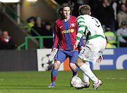 Lionel Messi takes on Lee Naylor. Celtic v Barcelona, Uefa Champions League, Knockout phase, Celtic Park, Glasgow, Scotland. 20th February 2008.