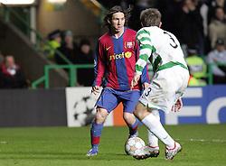 Lionel Messi takes on Lee Naylor. Celtic v Barcelona, Uefa Champions League, Knockout phase, Celtic Park, Glasgow, Scotland. 20th February 2008.