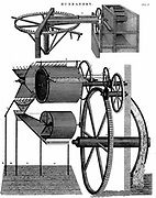 Threshing machine by Andrew Meikle (1719-1811) Scottish inventor and millwright. Top: Original form powered by horses. Bottom: improved form powered by water wheel. Engraving 1811.