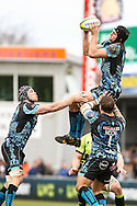 Dean Mumm (capt) of Exeter Chiefs catches lineout ball  during the LV Cup Final match at Sandy Park, Exeter<br /> Picture by Andy Kearns/Focus Images Ltd 0781 864 4264<br /> 16/03/2014